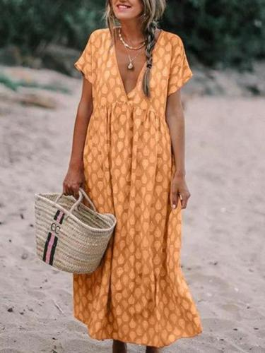 Loose V neck Printed Big Hem Maxi Dresses