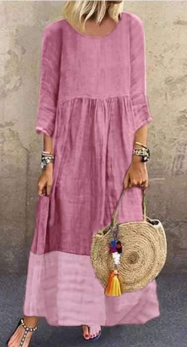 Fashion Round neck Gored Long sleeve Maxi Dresses