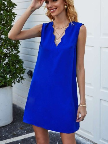 Casual Pure V neck Sleeveless Shift Dresses