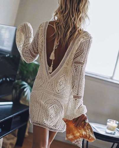 Sext Pure Lace Hollow out V neck Long sleeve Shift Dresses