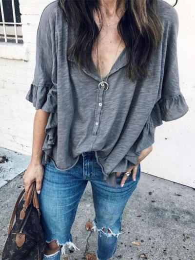 Fashion Casual Loose Round neck Short sleeve Falbala T-Shirts