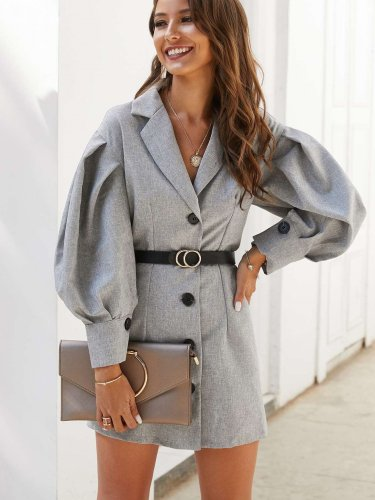 Pure Puff sleeve Lapel Belt Shift Dresses