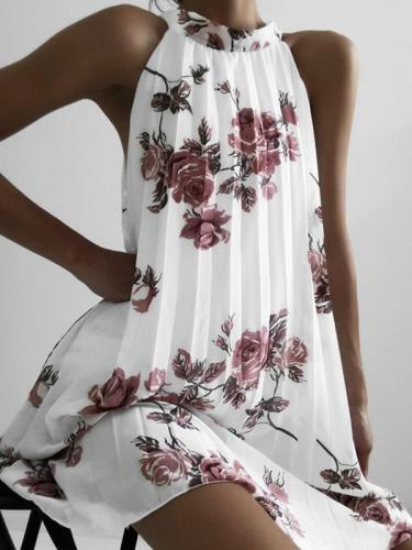 Fold sleeveless Printed Band Neck halter shift dress