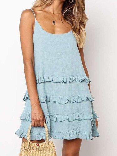 Fashion Pure Falbala Vest Shift Dresses