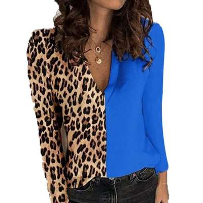 Fashion Leopard print Gored V neck Long sleeve T-Shirts