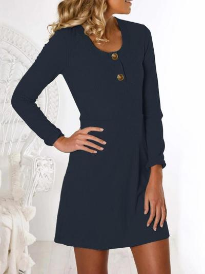Fashion button round neck long sleeve plain shift dresses