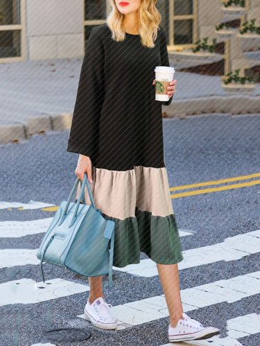 Khaki Polyester Casual Crew Neck Dress