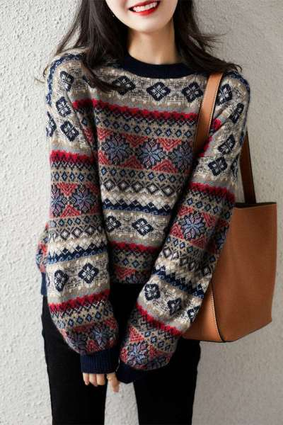 Casual Loose Knit Puff sleeve Sweaters