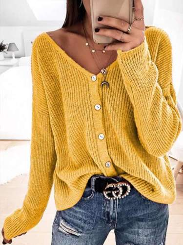 Fashionable v neck button long sleeve loose cardigan sweater coats