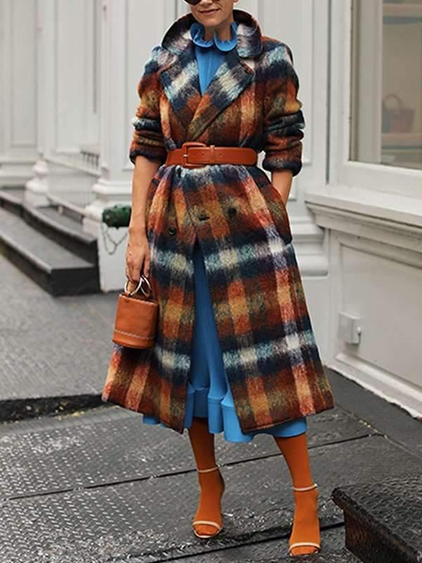 Fashion Grid turn down neck long coats