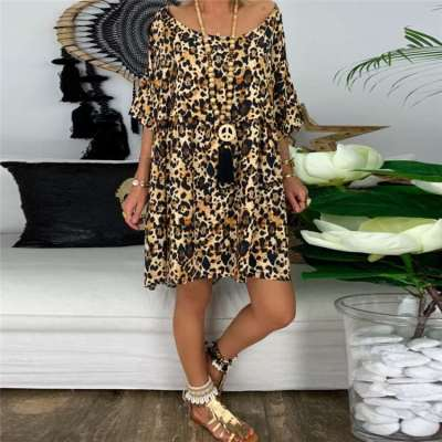 Casual Loose Print Round neck Half sleeve Shift Dresses