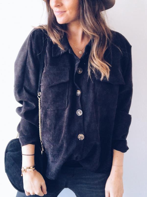 Corduroy single breaste large pocket blouses