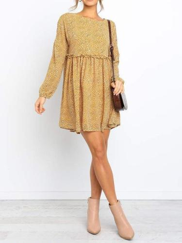 Chiffon floral printed round collar long sleeve mini shift dresses