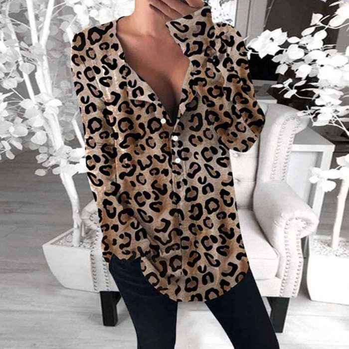 Fashion V neck Leopard print Long Blouses