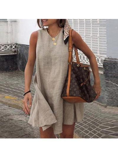 Fashionable Sleeveless Solid Color Casual Shift Dresses