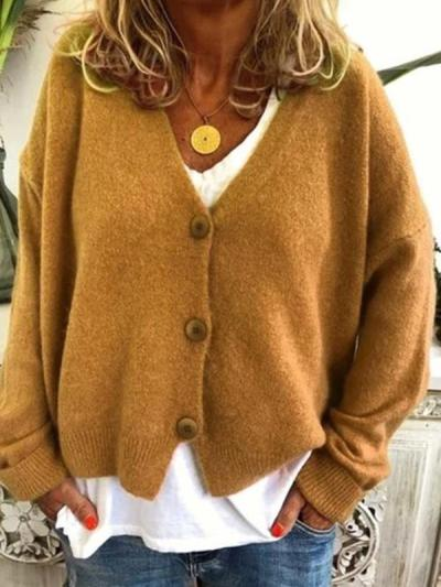 Loose Casual plain long sleeve button cardigan sweaters