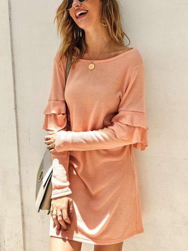 Fashion Falbala Knit Round neck Long sleeve Shift Dresses