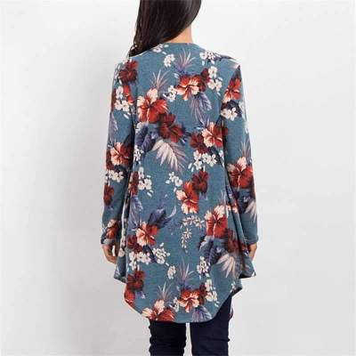 Casual Print Irregular Long sleeve Cardigan