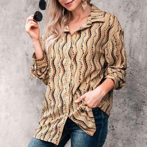 Fashion Casual Lapel Print Long sleeve Blouse