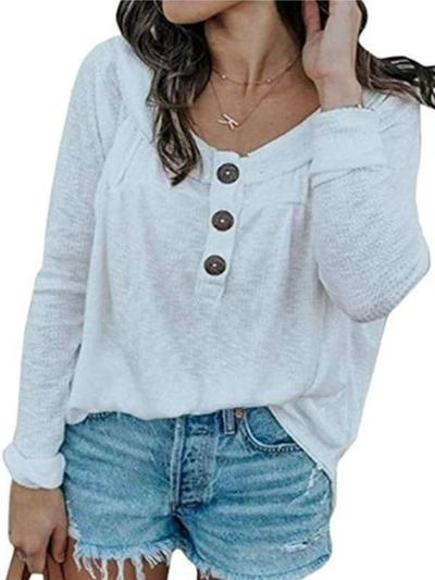 Fashion Round neck Knit Plus Long sleeve T-Shirts