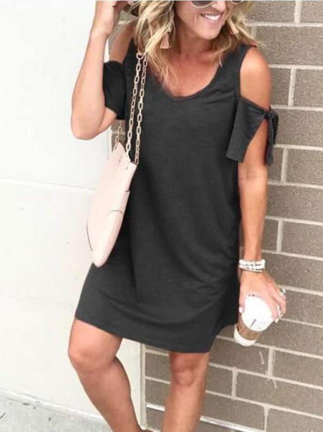 Pure V neck Off shoulder Short sleeve Shift Dresses
