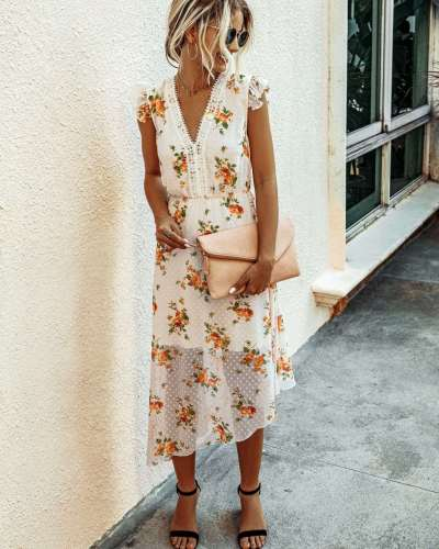 Fashion Print V neck Sleeveless Skater Maxi Dresses