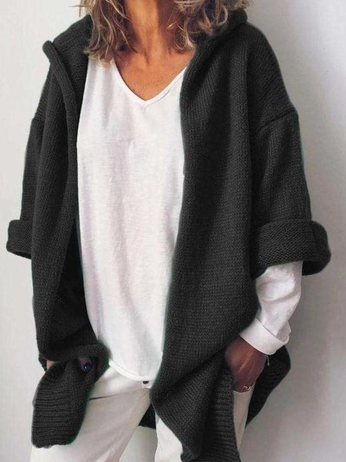 Casual Pure Hoodie Long sleeve Knit Cardigan
