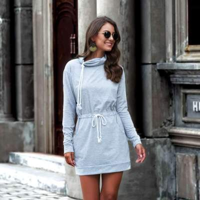 Pure Lacing Long sleeve Pile collar Shift Dresses