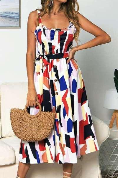 Fashion Print Round neck Vest Falbala Skater Dresses