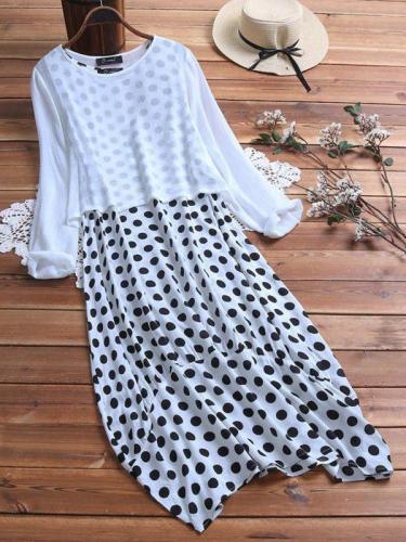 Polka dot Wave Pot fashion Fake Two Pieces Maxi Dresses