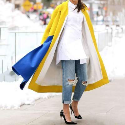 Fashion Plaid Gored Lapel Coats