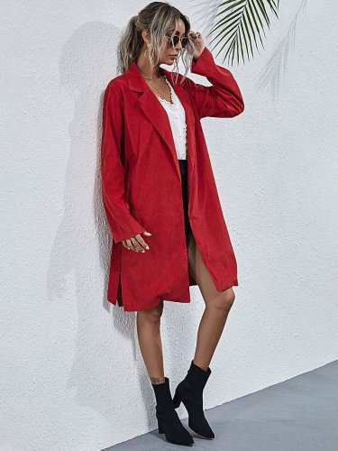 Fashion Pure Lapel Long sleeve Belt Trench Coats