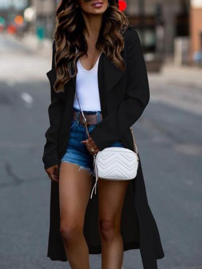 Long sleeve big lapel solid Trech coats