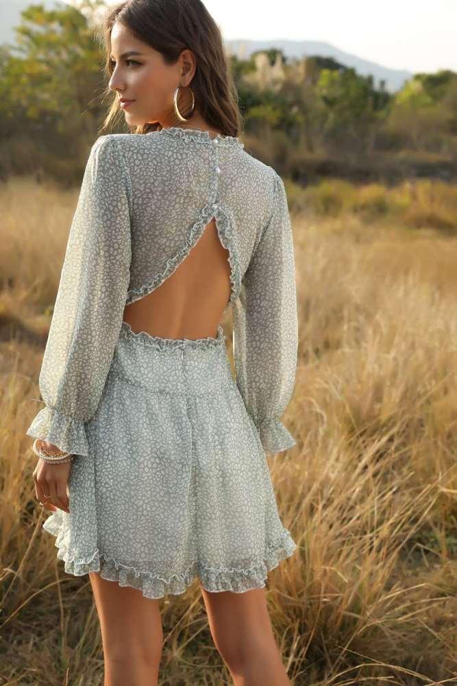 Sexy Print V neck Backless Gored Falbala Long sleeve Skater Dresses