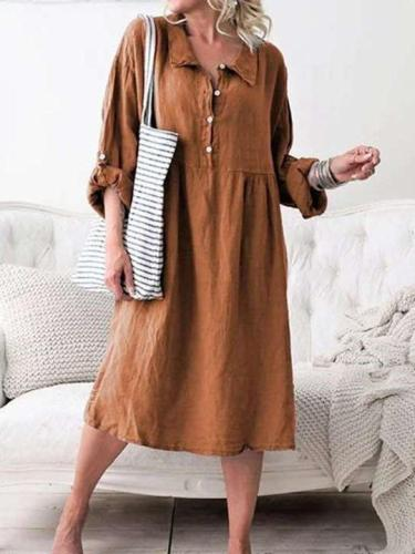 Casual Pure Lapel Fastener Long sleeve Maxi Dresses