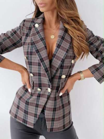 Fashion Plaid Lapel Long sleeve Double-breasted Blazer
