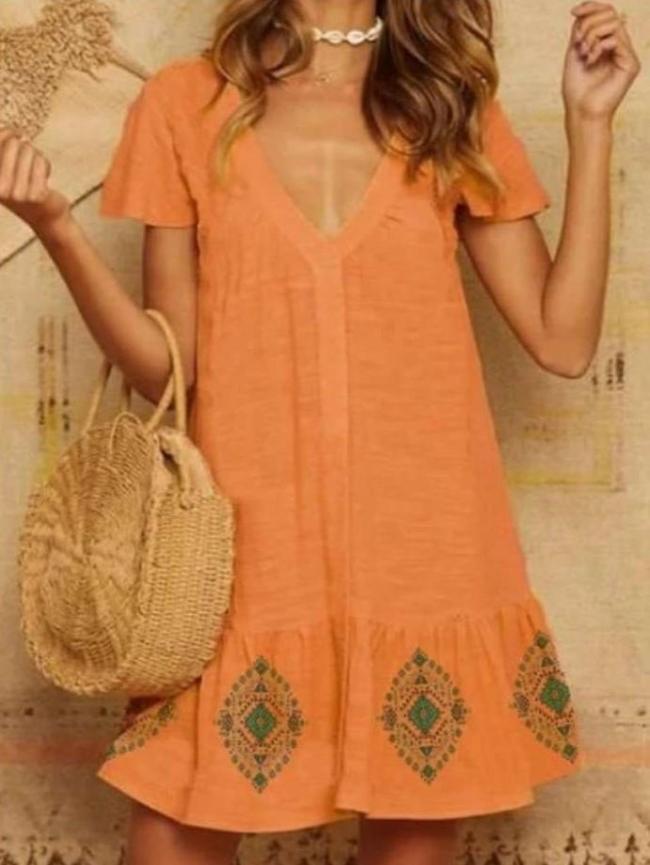 Fashion Print Gored V neck Short sleeve Falbala Shift Dresses