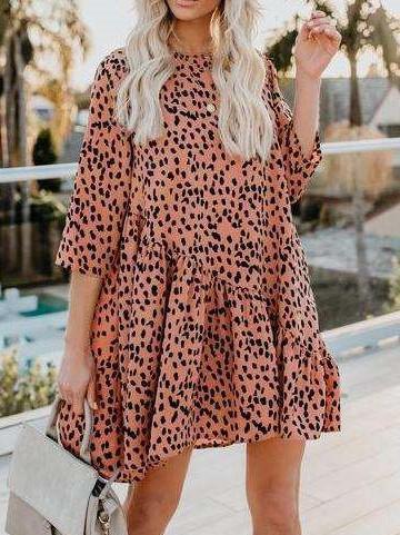 Fashion Leopard Print Round neck Shift Dresses