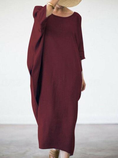 Casual round neck loose plain maxi dresses
