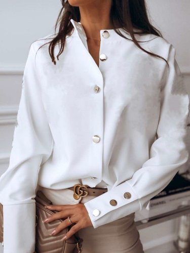 Fashion Pure Stand collar Long sleeve Blouses