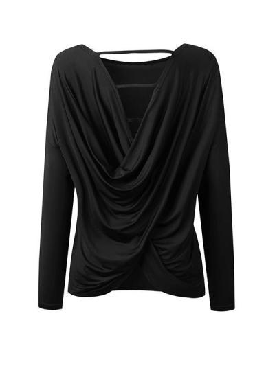 Backless long sleeve irregular T-shirts