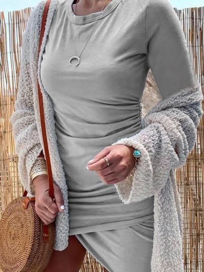 Women Round neck long sleeve plain bodycon dresses