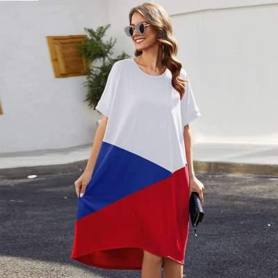 Fashion Gored Round neck Short sleeve Maxi Dresses