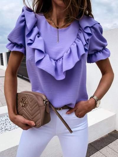 Fashion Pure Falbala Short sleeve Round neck Blouses