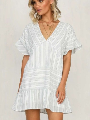 Casual Stripe V neck Short sleeve Shift Dresses