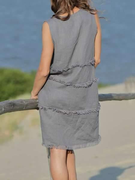 Cotton And Linen Stitching Comb Sleeveless Women's Dress
