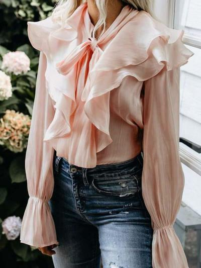 Chic sweet ruffled long-sleeved women blouses