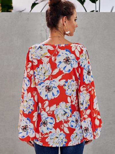 Chic printed women v neck long sleeve blouses