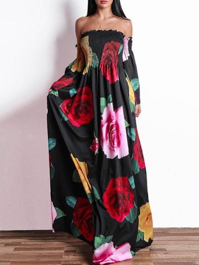 Sexy fashion Off Shoulder Floral Printed Maxi dresses