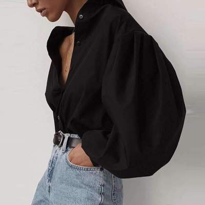 Fashion Loose Stand collar Puff sleeve Blouses